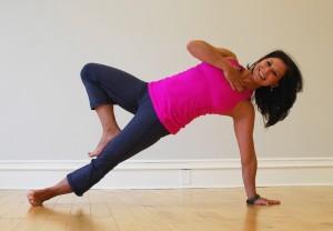 Striking Side Plank Tree pose, post surgery!