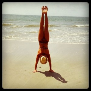 Becky Cawood handstanding